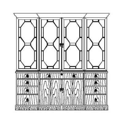 Jonathan Charles Walnut Triple Bookcase with Octagonal Glazing Bars