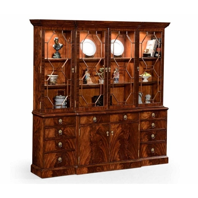 Jonathan Charles Mahogany Triple Bookcase with Octagonal Glazing Bars