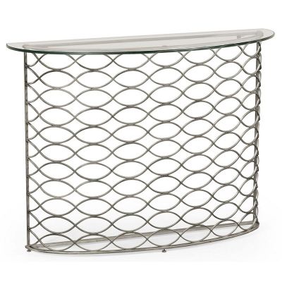 Jonathan Charles Interlaced Silver and Glass Demilune Console