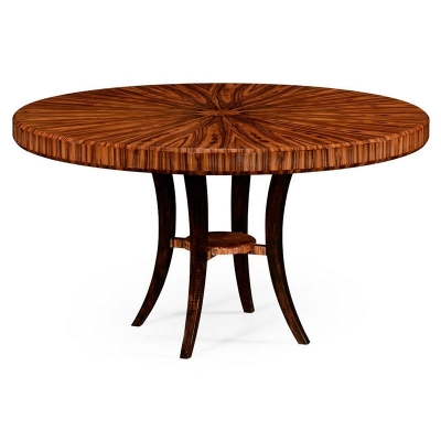 Jonathan Charles 54 inch Art Deco Round Dining Table In High Lustre