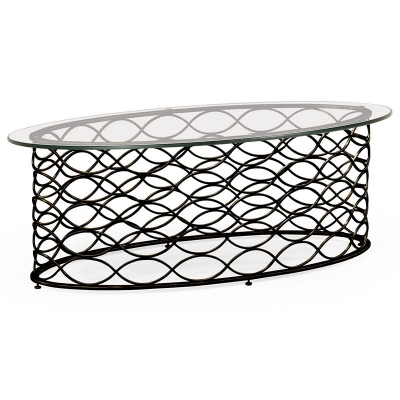 Jonathan Charles Interlaced Bronze and Glass Oval Coffee Table