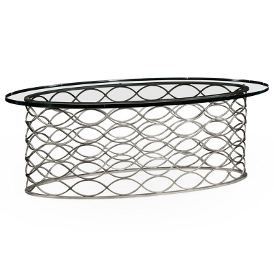 Jonathan Charles Interlaced Silver and Glass Oval Coffee Table
