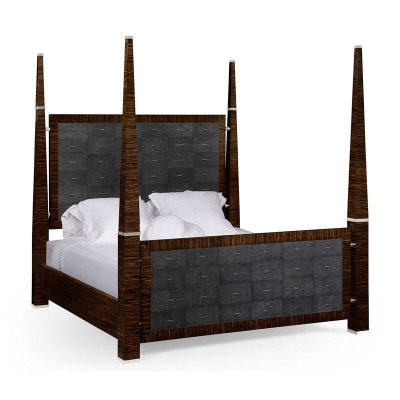 Jonathan Charles Faux Macassar and Anthracite Faux Shagreen US King Bed
