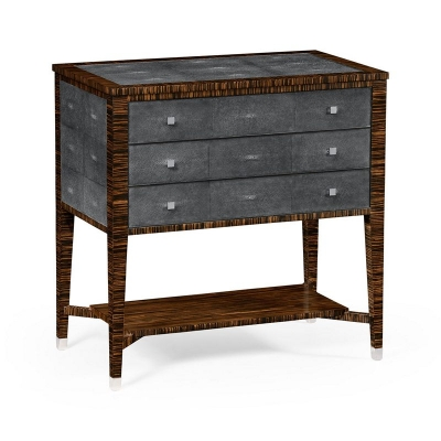 Jonathan Charles Faux Macassar Ebony and Black Shagreen Chest of Three Drawer