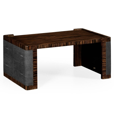 Jonathan Charles Faux Macassar Ebony and Anthracite Shagreen Bed Tray