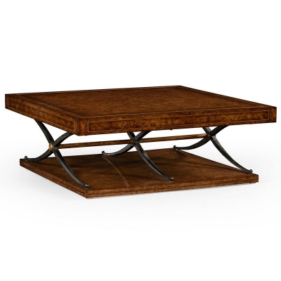 Jonathan Charles Hammered Iron and Burl Square Coffee Table