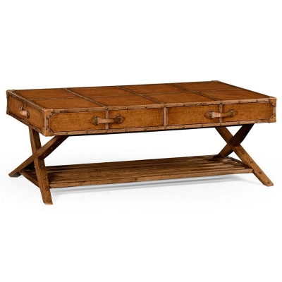 Jonathan Charles Travel Trunk Style Coffee Table
