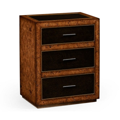 Jonathan Charles Rustic Burl Oak and Leather Chest of Three Drawers