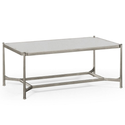 Jonathan Charles Silver Rectangular Coffee Table Antiqued Mirror
