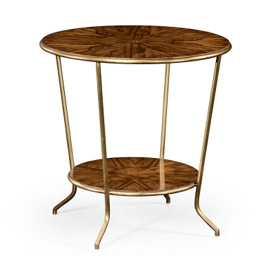 Jonathan Charles Argentinian Walnut Veneered Round Side Table