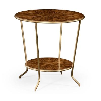 Jonathan Charles Argentinian Walnut Veneered Round Side Table