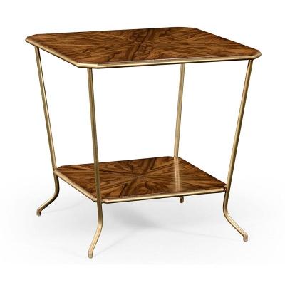 Jonathan Charles Argentinian Walnut Veneered Square Side Table