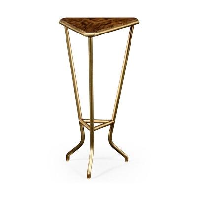 Jonathan Charles Argentinian Walnut Veneered Triangle Lamp Table