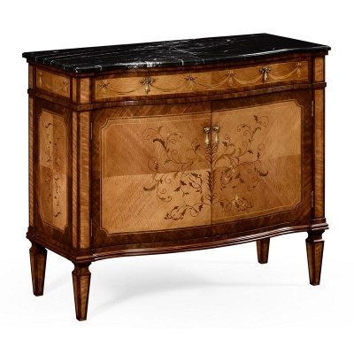 Jonathan Charles Satinwood Side Cabinet with Floral Inlay and Marble Top