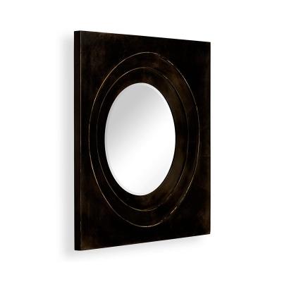 Jonathan Charles Black Framed Round Mirror