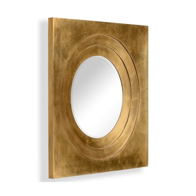 Jonathan Charles Gilded Framed Round Mirror