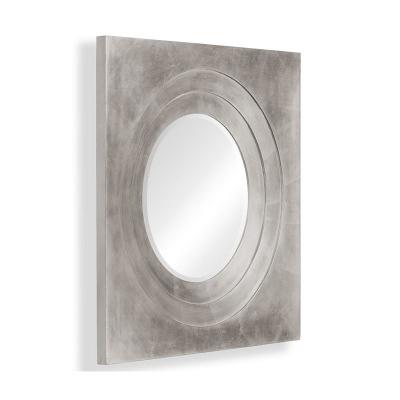 Jonathan Charles Silver Framed Round Mirror