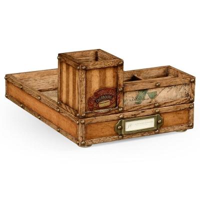 Jonathan Charles Travel Trunk Style Desk Organiser