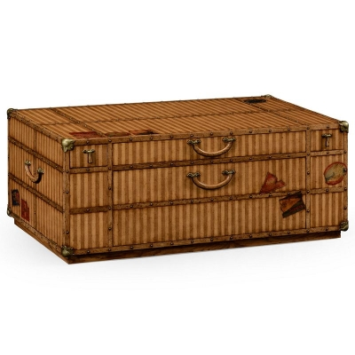 Jonathan Charles Travel Trunk Style Coffee Table with Storage