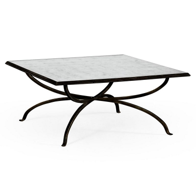 Jonathan Charles Eglomise and Bronze Iron Square Coffee Table
