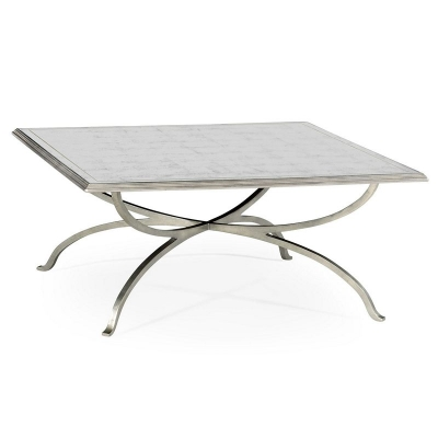 Jonathan Charles Eglomise and Silver Iron Square Coffee Table