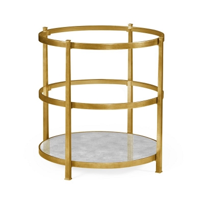 Jonathan Charles Patinated Gilded Finish Three Tier Table