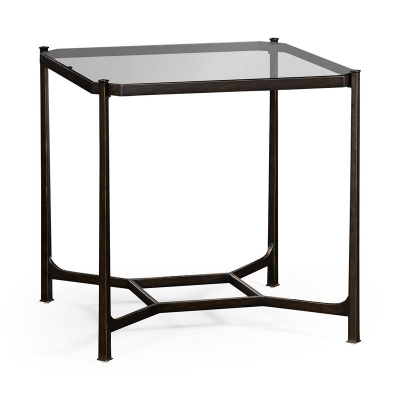 Jonathan Charles Patinated Bronze Finish Square Side Table