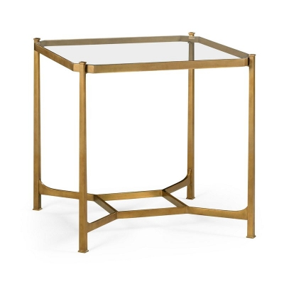 Jonathan Charles Patinated Gilded Finish Square Side Table