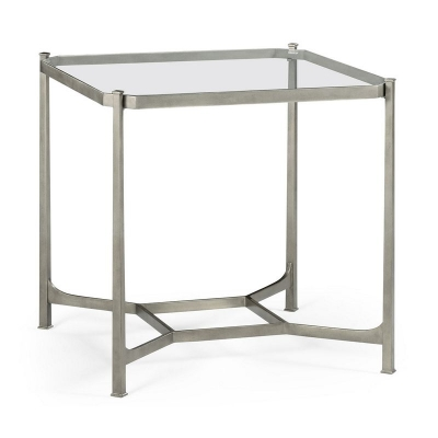 Jonathan Charles Patinated Silver Finish Square Side Table