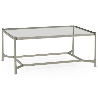 Jonathan Charles Patinated Silver Finish Rectangular Coffee Table