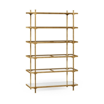 Jonathan Charles Patinated Gilded Finish Six Tier Etagere