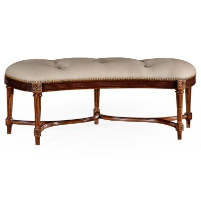 Jonathan Charles Padded Curved Walnut Window Seat
