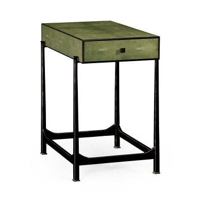 Jonathan Charles Green Faux Shagreen Bronze Side Table