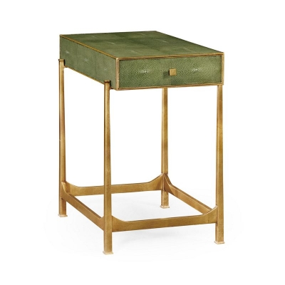 Jonathan Charles Green Faux Shagreen Gilded Side Table