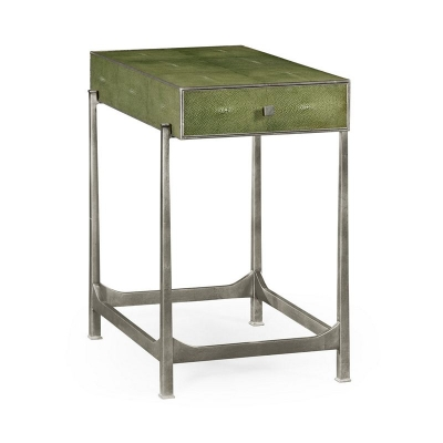 Jonathan Charles Green Faux Shagreen Silver Side Table