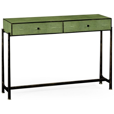 Jonathan Charles Green Faux Shagreen Bronze Console