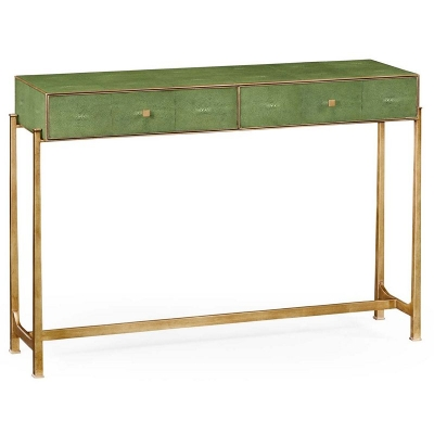 Jonathan Charles Green Faux Shagreen Gilded Console