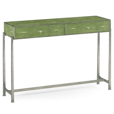 Jonathan Charles Green Faux Shagreen Silver Console