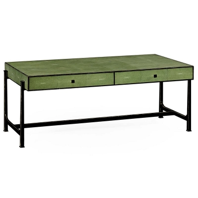 Jonathan Charles Green Faux Shagreen Bronze Coffee Table