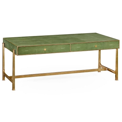 Jonathan Charles Green Faux Shagreen Gilded Coffee Table