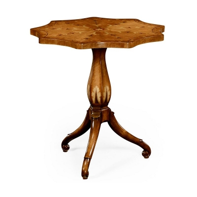 Jonathan Charles Finely Inlaid Lamp Table with Nine Sided Top