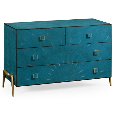 Jonathan Charles Teal Faux Shagreen and Brass Legged Chest