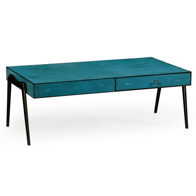 Jonathan Charles Teal Faux Shagreen and Bronze Legged Coffee Table