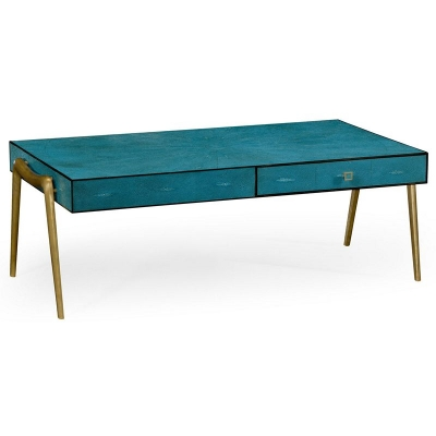 Jonathan Charles Teal Faux Shagreen and Brass Legged Coffee Table