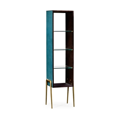 Jonathan Charles Teal Faux Shagreen and Brass Legged Etagere
