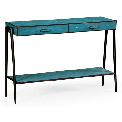 Jonathan Charles Teal Faux Shagreen and Bronze Legged Console