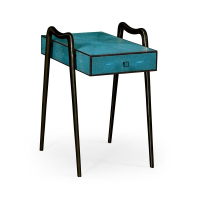 Jonathan Charles Teal Faux Shagreen and Bronze Legged End Table