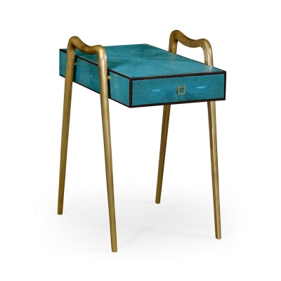 Jonathan Charles Teal Faux Shagreen and Brass Legged End Table