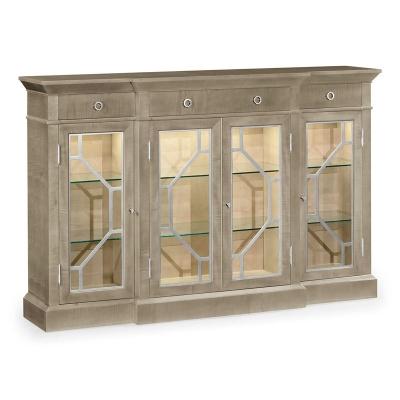 Jonathan Charles Opera 4 Door Breakfront Display Cabinet with Stainless Steel