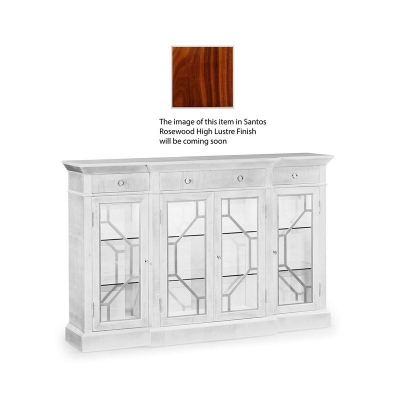 Jonathan Charles 4 Door Breakfront Display Cabinet with Stainless Steel Details, High Lustre